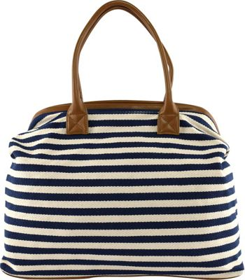 Tara's Travelers Nautical Stripes Tote Sapphire Stripes - Tara's Travelers Fabric Handbags