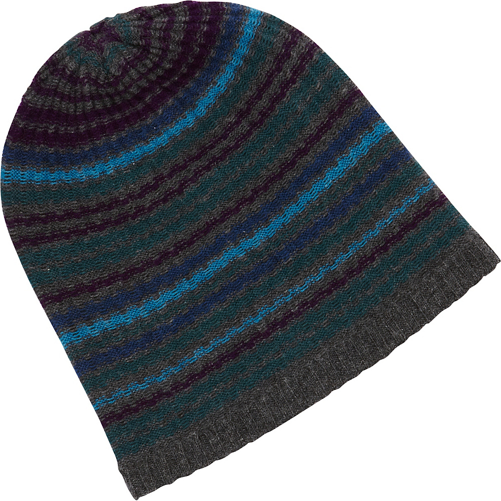 Kinross Cashmere Drop Needle Rib Stripe Hat One Size - Charcoal Multi - Kinross Cashmere Hats/Gloves/Scarves - Fashion Accessories, Hats/Gloves/Scarves