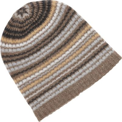 Kinross Cashmere Drop Needle Rib Stripe Hat One Size - Doeskin Multi - Kinross Cashmere Hats/Gloves/Scarves