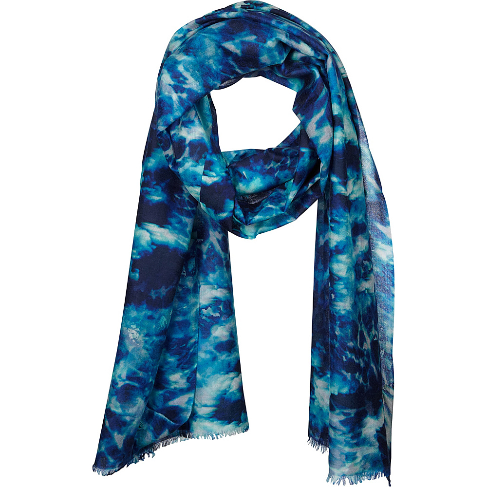 Kinross Cashmere Cloud Print Scarf Moonlight Multi - Kinross Cashmere Hats/Gloves/Scarves - Fashion Accessories, Hats/Gloves/Scarves