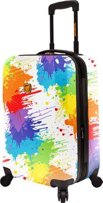 Loudmouth Drop Cloth 22 inch Expandable Carry-On Spinner Luggage Multi-Color & White - Loudmouth Hardside Carry-On