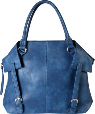 Diophy PU Leather Tote Diaper Bag with Baby Changing Pad and Bottle Insulation Blue - Diophy Manmade Handbags