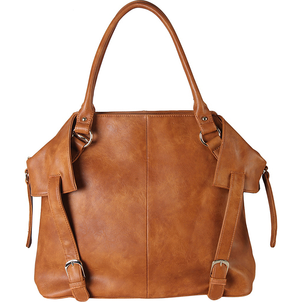 Diophy PU Leather Tote Diaper Bag with Baby Changing Pad and Bottle Insulation Brown - Diophy Manmade Handbags