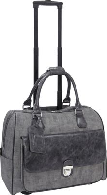 Cabrelli Linda Linen 15 inch Laptop Rollerbrief Charcoal/Grey - Cabrelli Wheeled Business Cases