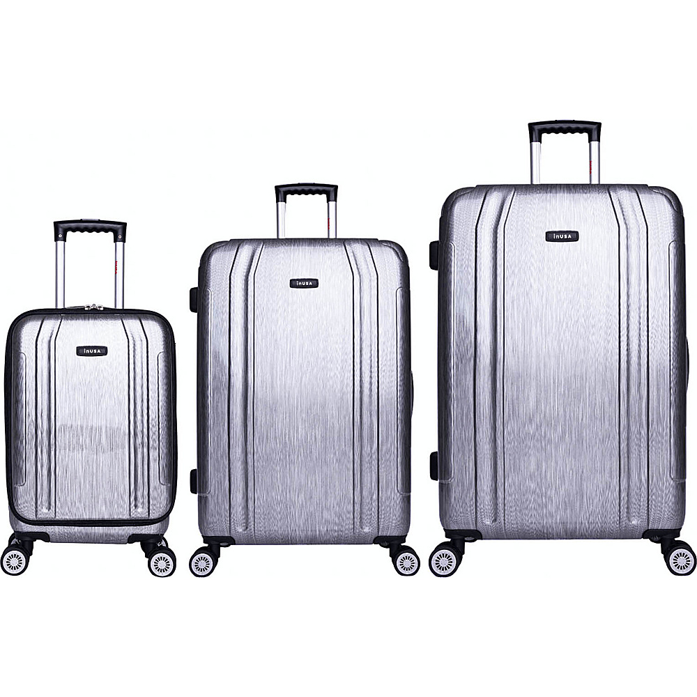 inUSA SouthWorld 3 Piece Hardside Spinner Luggage Set Silver Brush inUSA Luggage Sets