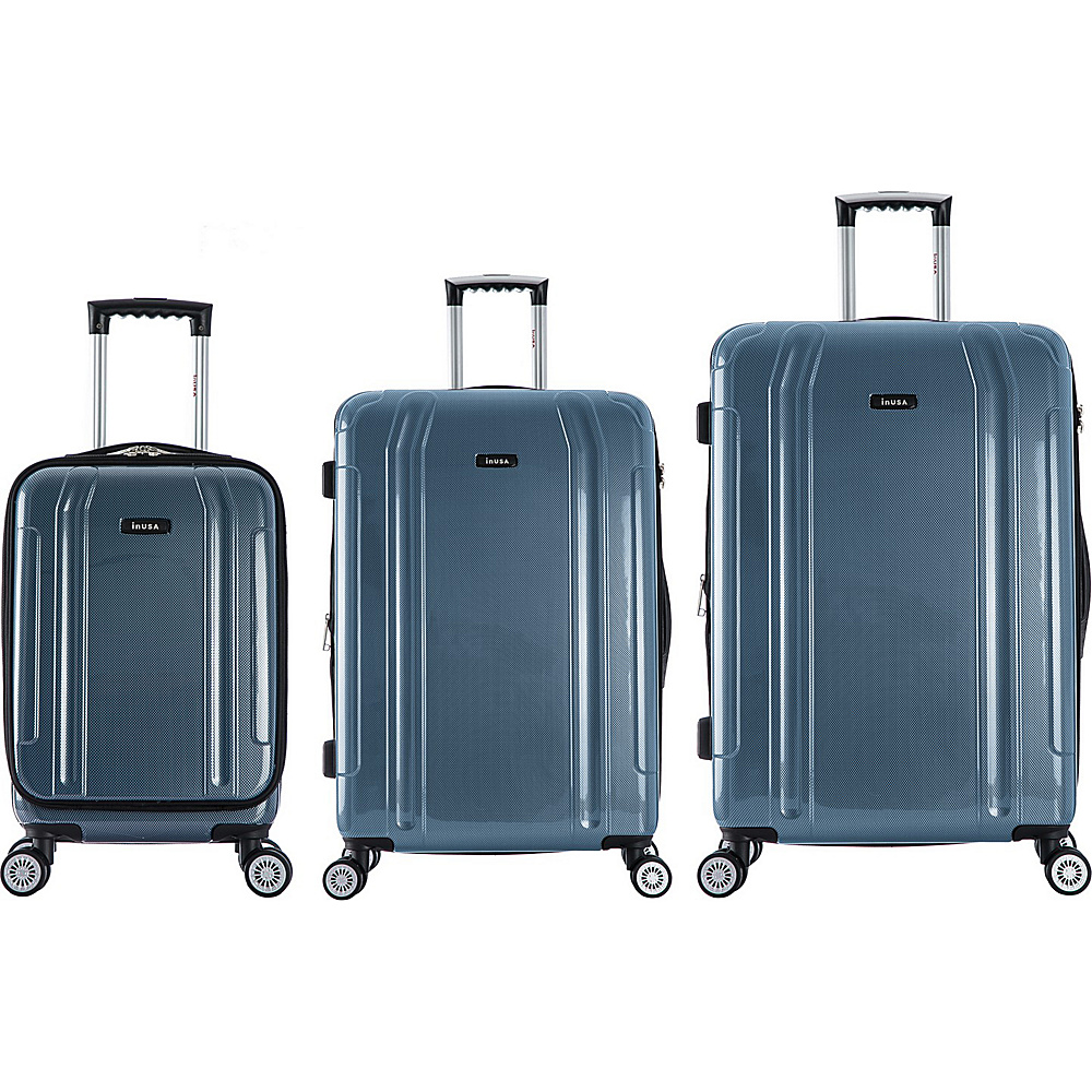 inUSA SouthWorld 3 Piece Hardside Spinner Luggage Set Blue Carbon inUSA Luggage Sets