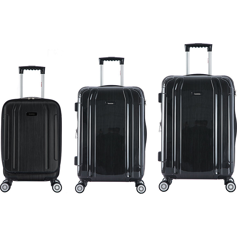 inUSA SouthWorld 3 Piece Hardside Spinner Luggage Set Dark Gray Brush inUSA Luggage Sets
