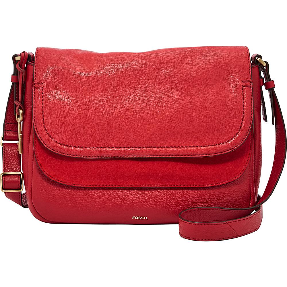 Fossil Peyton Large Double Flap Crossbody Crimson - Fossil Leather Handbags