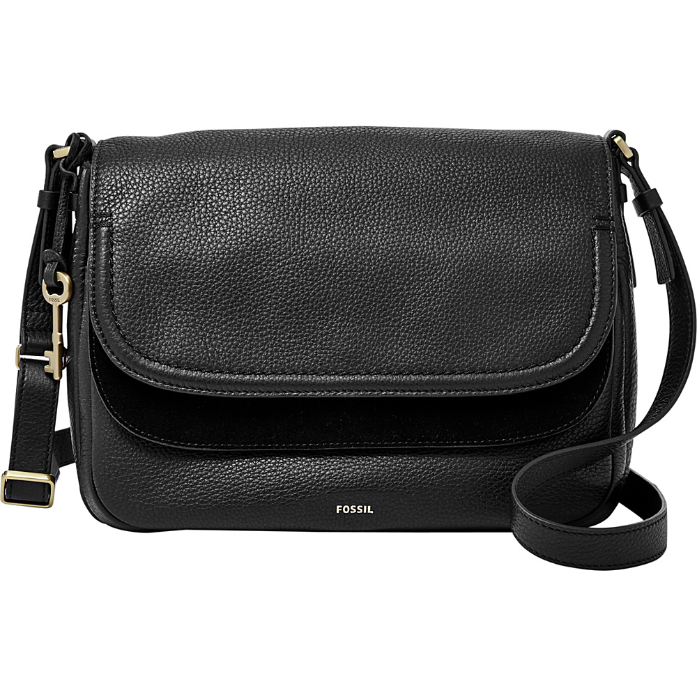 Fossil Peyton Large Double Flap Crossbody Black - Fossil Leather Handbags