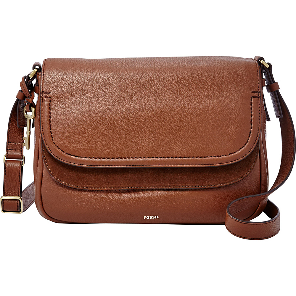 Fossil Peyton Large Double Flap Crossbody Brown - Fossil Leather Handbags