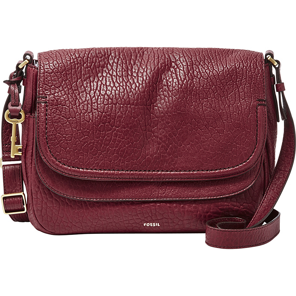 Fossil Peyton Large Double Flap Crossbody Wine - Fossil Leather Handbags