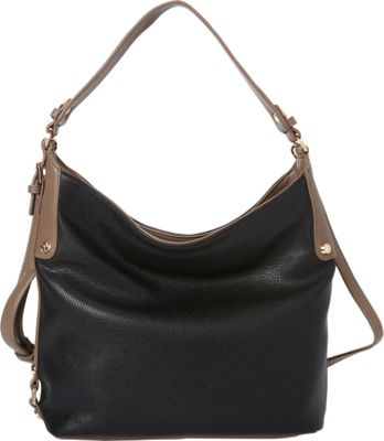 La Diva Tara Two-Tone Hobo Black/Taupe - La Diva Manmade Handbags