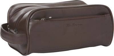 Ben Sherman Luggage Mayfair Collection Double Compartment Top Zip Travel Kit Brown - Ben Sherman Luggage Toiletry Kits