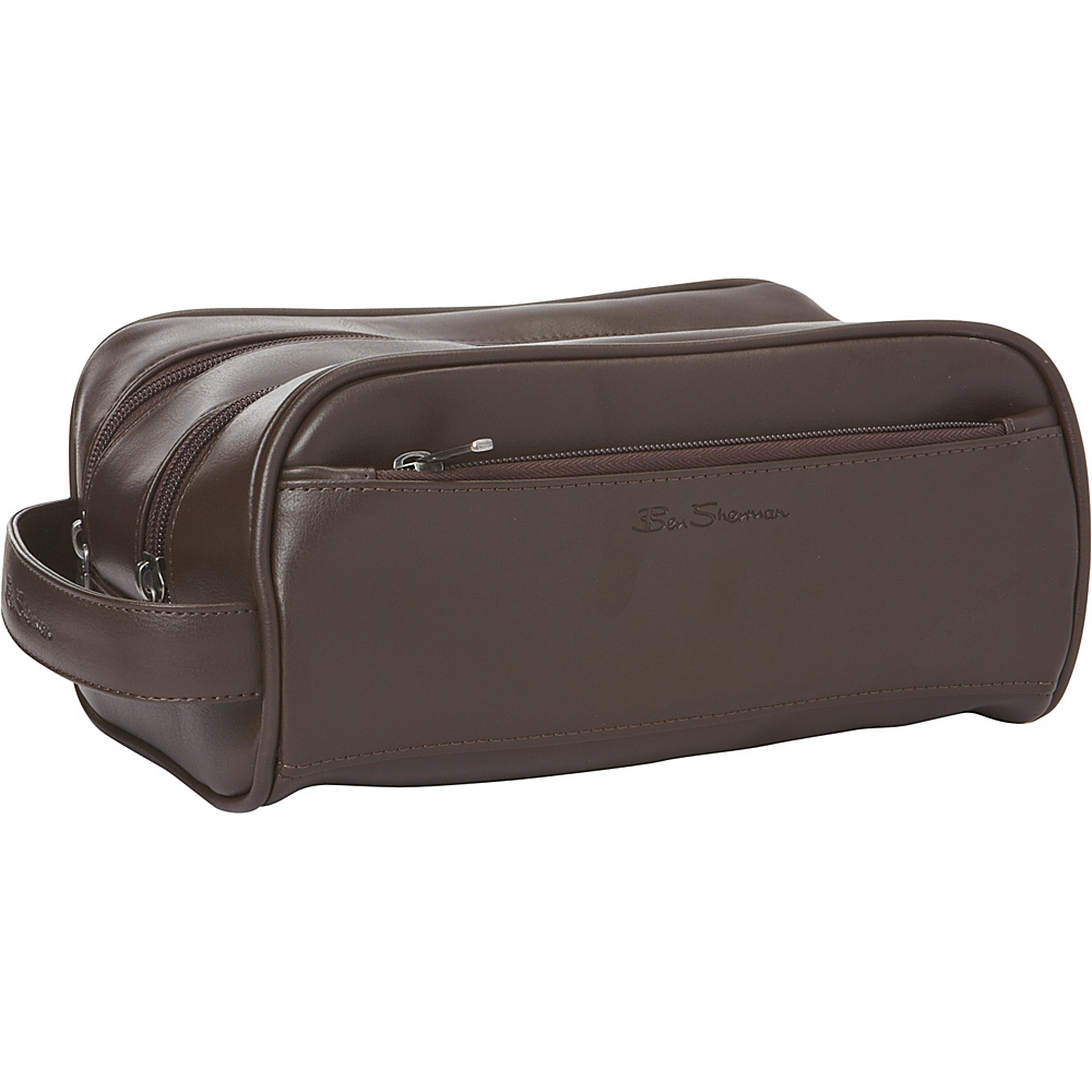 Ben Sherman Luggage Mayfair Collection Double Compartment Top Zip Travel Kit Brown Ben Sherman Luggage Toiletry Kits
