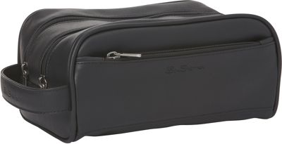 Ben Sherman Luggage Mayfair Collection Double Compartment Top Zip Travel Kit Black - Ben Sherman Luggage Toiletry Kits