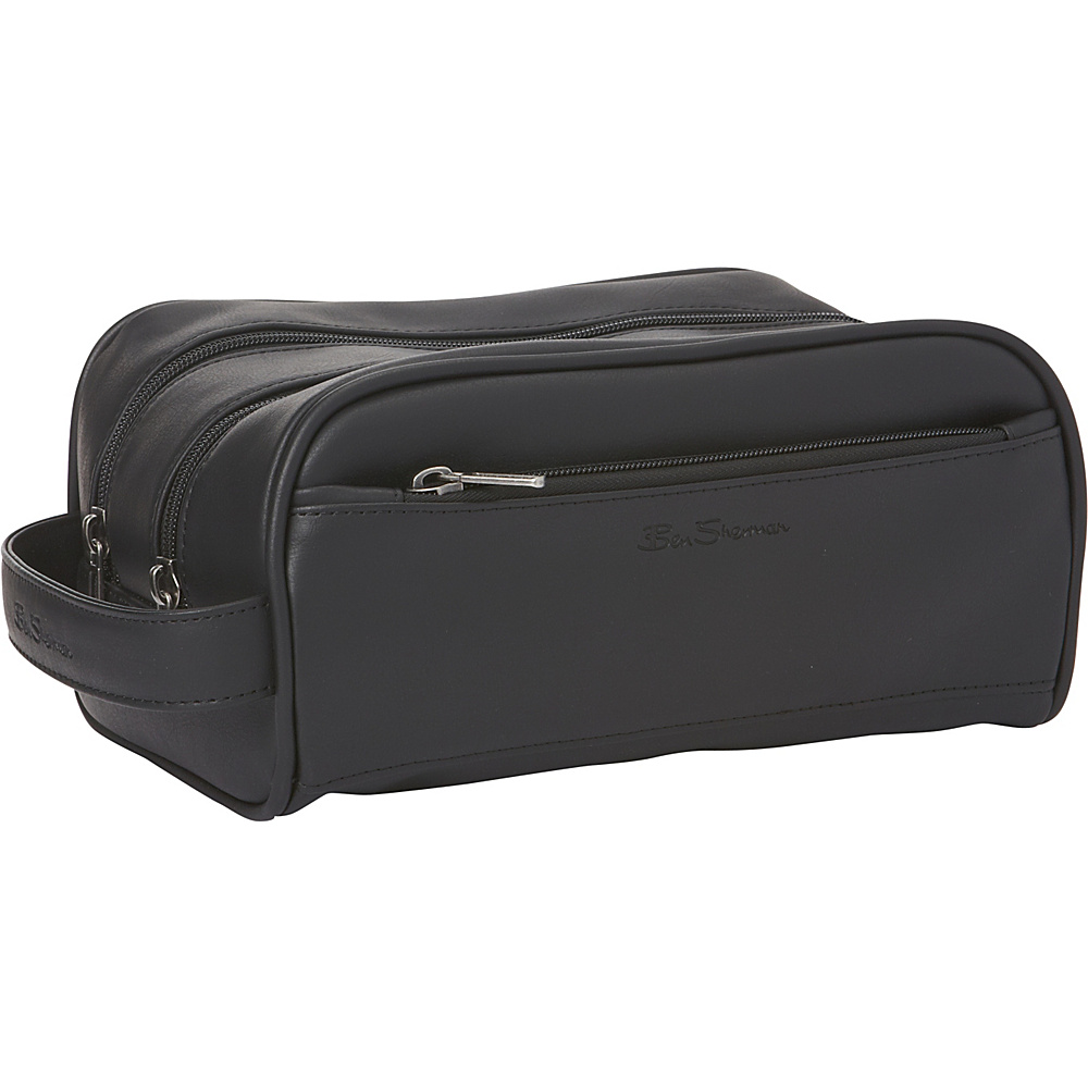 Ben Sherman Luggage Mayfair Collection Double Compartment Top Zip Travel Kit Black Ben Sherman Luggage Toiletry Kits