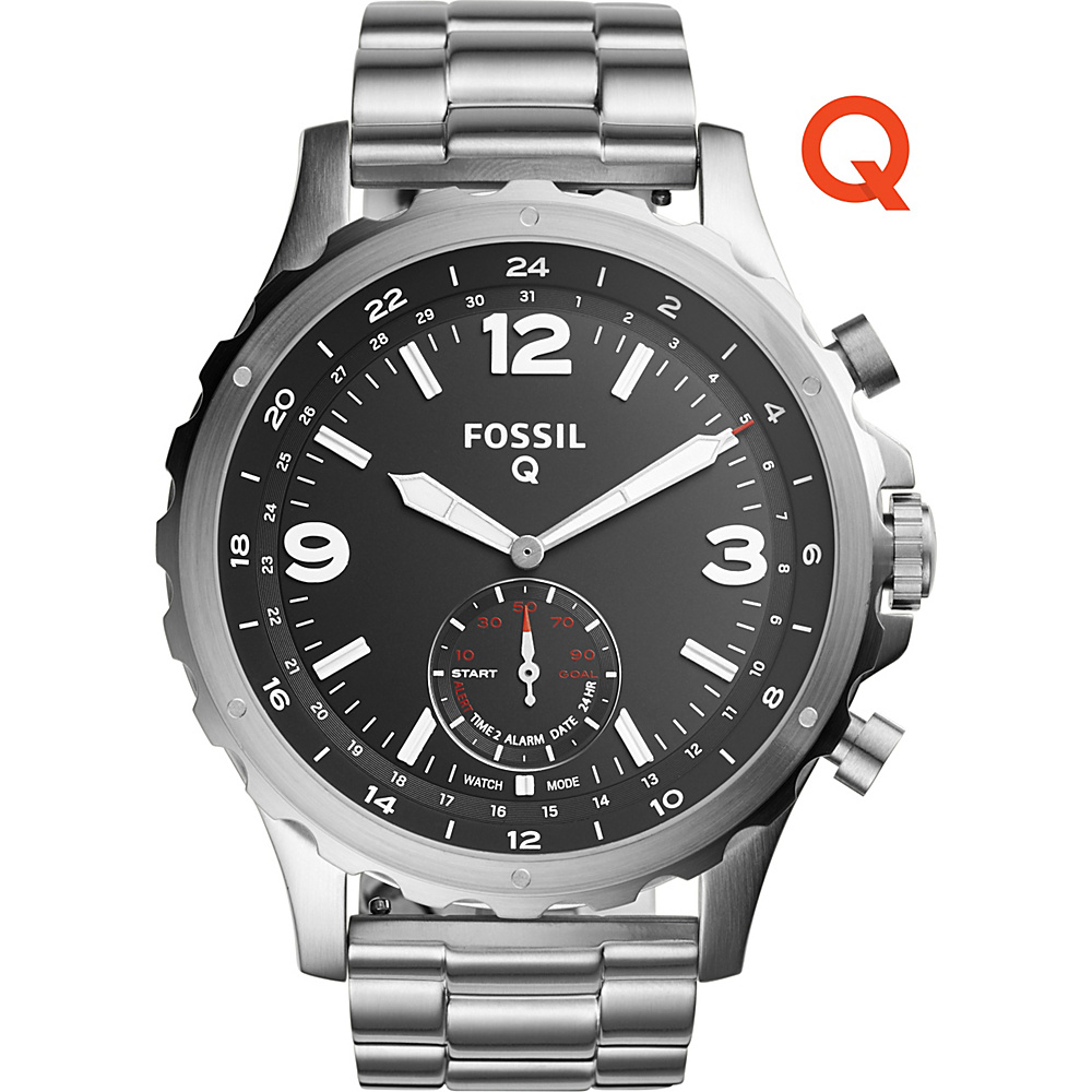 Fossil Q Nate Stainless Steel Hybrid Smartwatch Silver - Fossil Wearable Technology - Technology, Wearable Technology