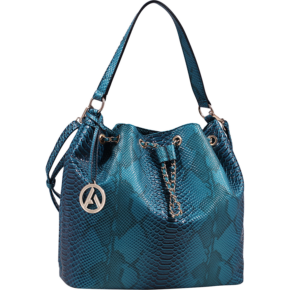 MKF Collection Rosella Drawstring Hobo Bag Teal Blue - MKF Collection Manmade Handbags - Handbags, Manmade Handbags