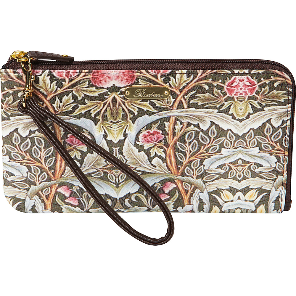 Buxton Art Nouveau L-Zip Expandable Wallet with Removable  Strap Brown - Buxton Womens Wallets - Women's SLG, Women's Wallets