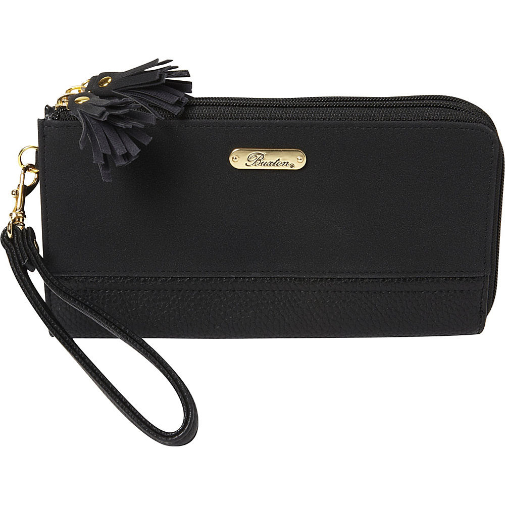 Buxton Touch of Suede Double L-Zip Wallet Black - Buxton Womens Wallets - Women's SLG, Women's Wallets