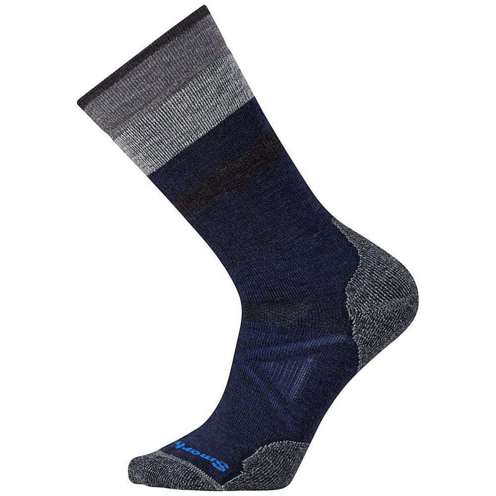 Smartwool PhD Outdoor Medium Pattern Crew Deep Navy Med Gray Medium Smartwool Men s Legwear Socks