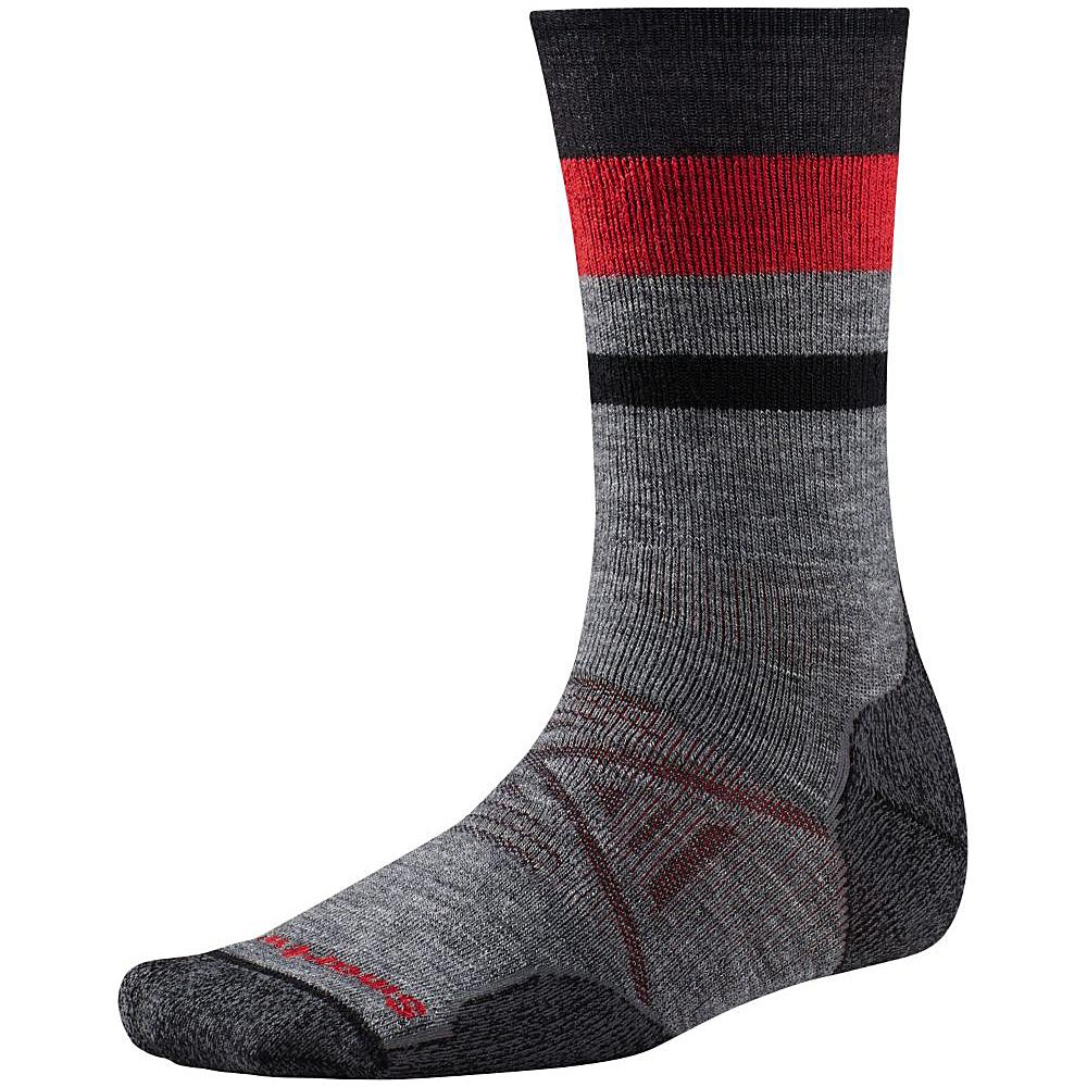 Smartwool PhD Outdoor Medium Pattern Crew Medium Gray Medium Smartwool Men s Legwear Socks