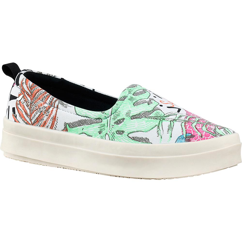 Sakroots Saz Flat Sneaker 8.5 - Neon Wildlife - Sakroots Womens Footwear - Apparel & Footwear, Women's Footwear