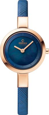 Obaku Watches Womens Mother of Peal Leather Watch Blue/Rose Gold/Mother of Pearl - Obaku Watches Watches