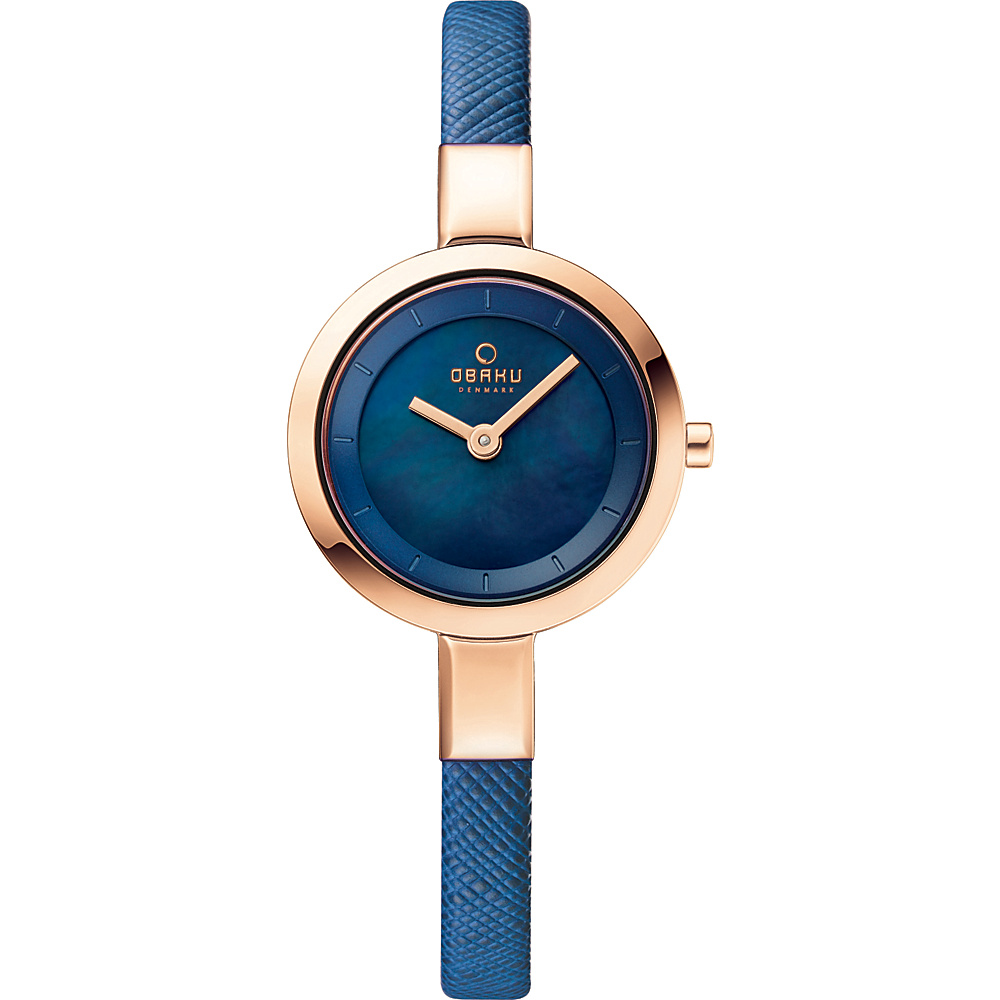 Obaku Watches Womens Mother of Peal Leather Watch Blue Rose Gold Mother of Pearl Obaku Watches Watches