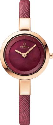 Obaku Watches Womens Mother of Peal Leather Watch Purple/Rose Gold/Mother of Pearl - Obaku Watches Watches