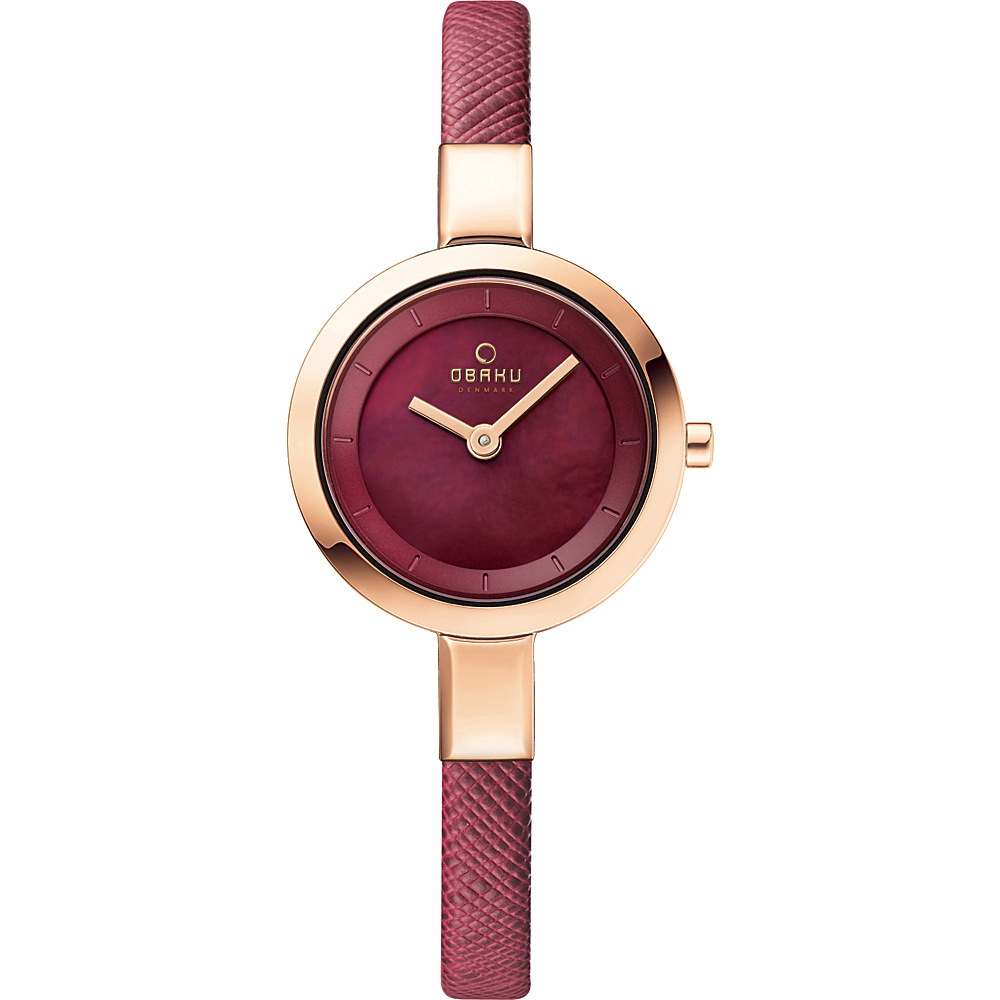Obaku Watches Womens Mother of Peal Leather Watch Purple Rose Gold Mother of Pearl Obaku Watches Watches