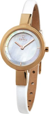 Obaku Watches Womens Mother of Peal Leather Watch White/Rose Gold - Obaku Watches Watches