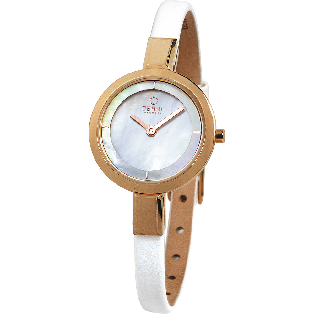 Obaku Watches Womens Mother of Peal Leather Watch White Rose Gold Obaku Watches Watches