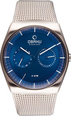 Obaku Watches Mens Multifunction Stainless Steel Mesh Watch Silver/Blue - Obaku Watches Watches
