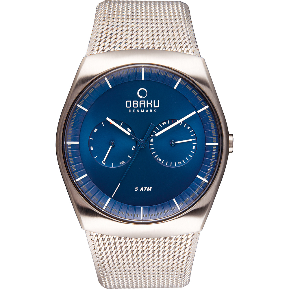 Obaku Watches Mens Multifunction Stainless Steel Mesh Watch Silver Blue Obaku Watches Watches