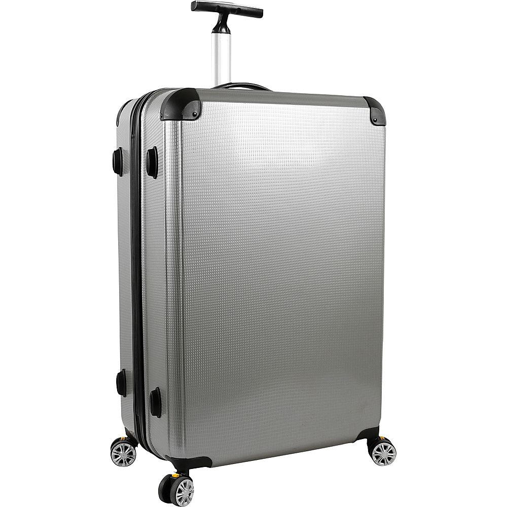 J World New York Cruz 28 inch Hardside Spinner Luggage Silver - J World New York Hardside Checked - Luggage, Hardside Checked