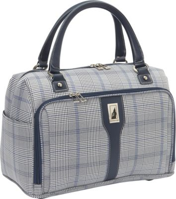London Fog Knightsbridge Hyperlight 17 inch Cabin Bag Grey/Navy Plaid - London Fog Luggage Totes and Satchels