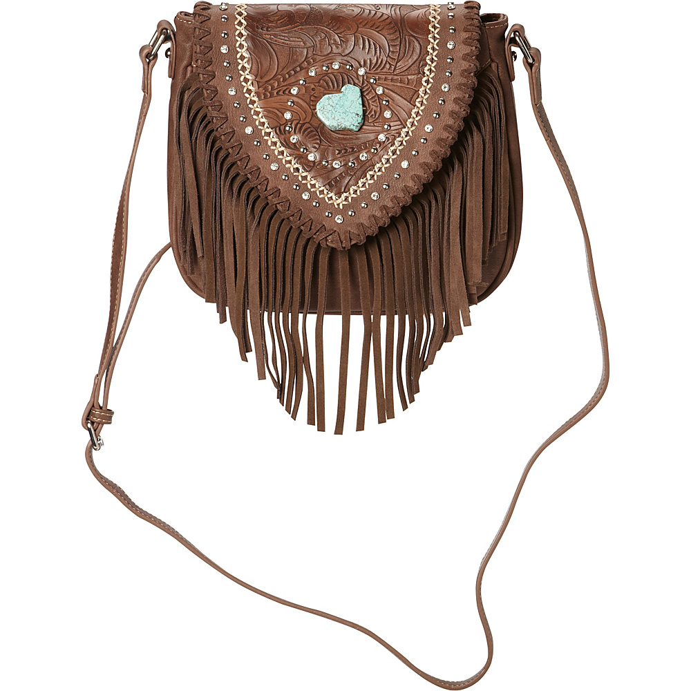 Montana West Tooled Crossbody Bag with Fringe Coffee Montana West Manmade Handbags