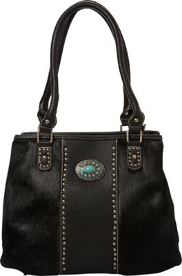 Montana West Hair-On Collection with Turquoise Concho Black - Montana West Manmade Handbags