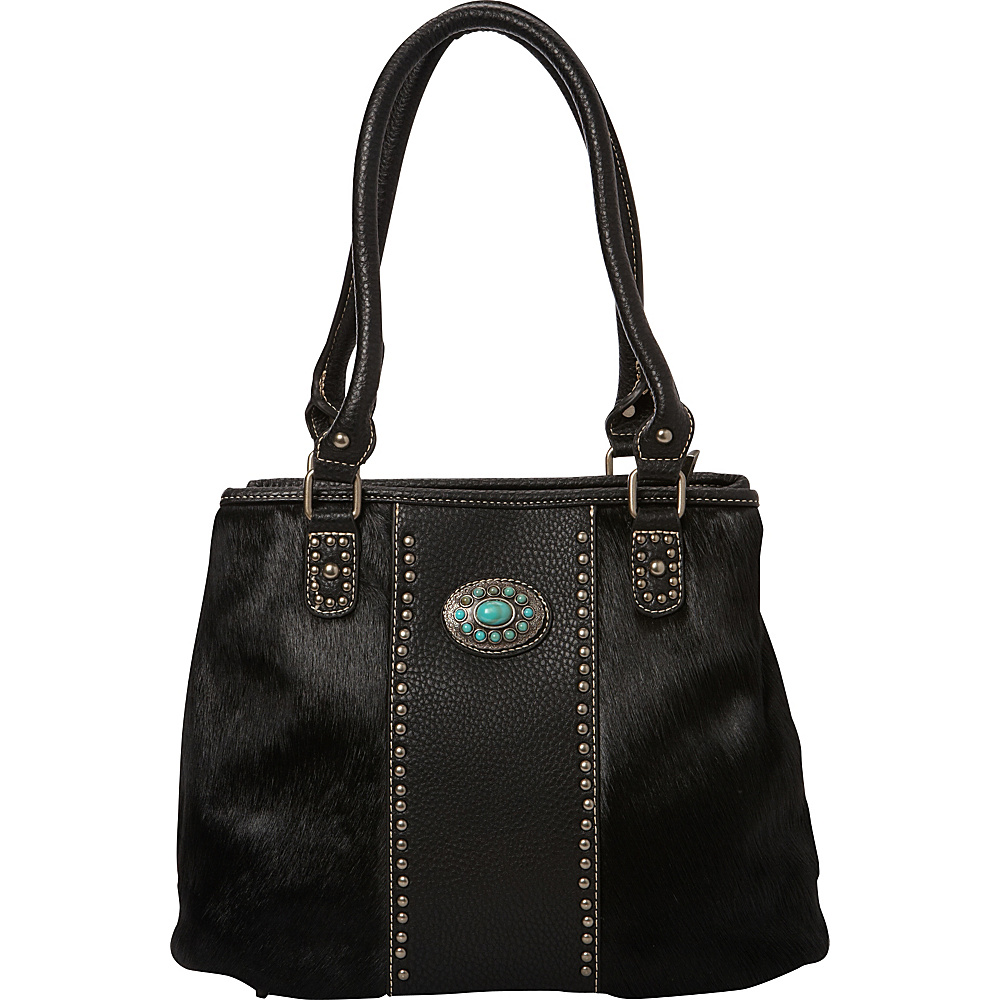 Montana West Hair On Collection with Turquoise Concho Black Montana West Manmade Handbags