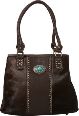 Montana West Hair-On Collection with Turquoise Concho Coffee - Montana West Manmade Handbags