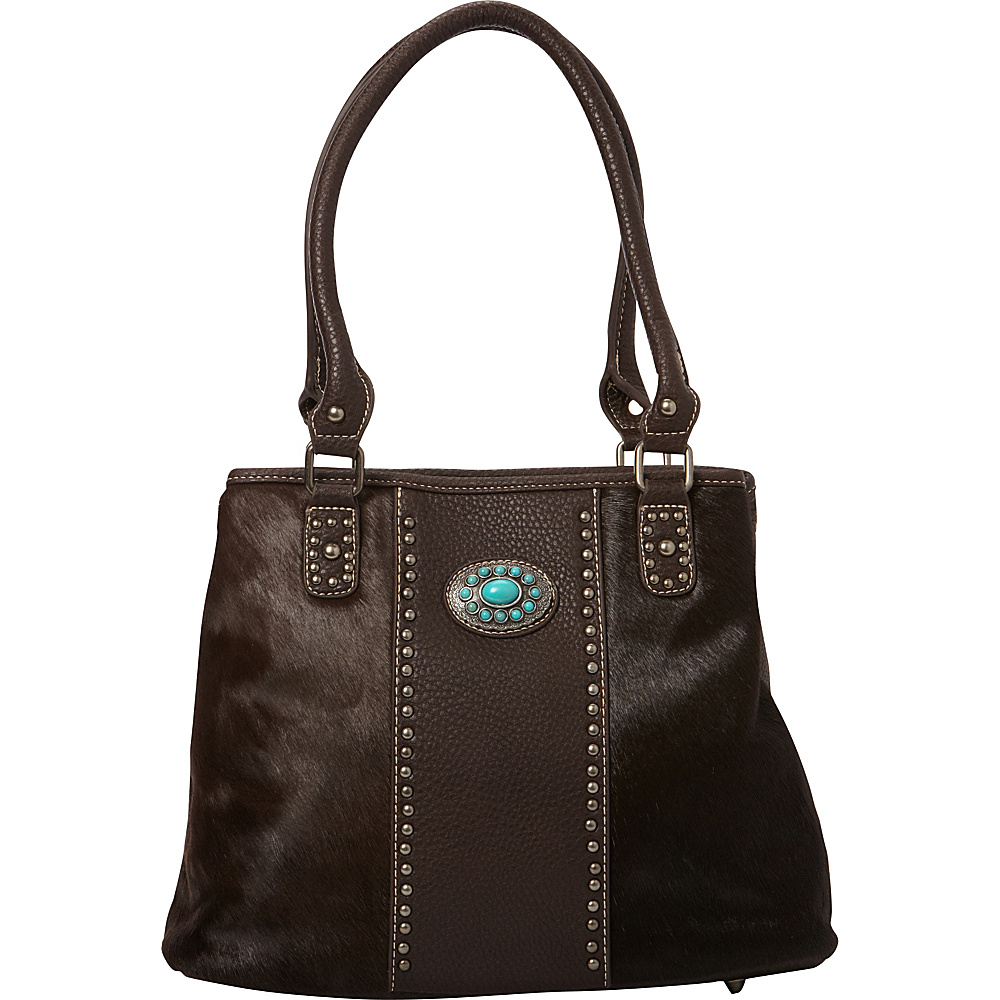 Montana West Hair On Collection with Turquoise Concho Coffee Montana West Manmade Handbags