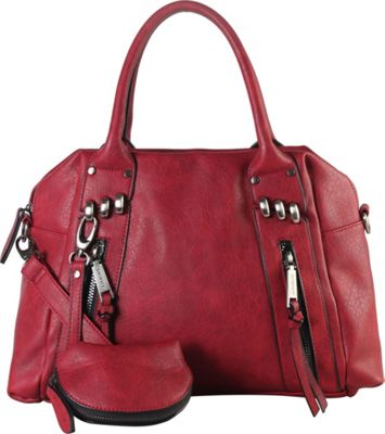 Diophy Double Front Zipper Tote Bag with Detachable Coin Pouch Wine - Diophy Manmade Handbags