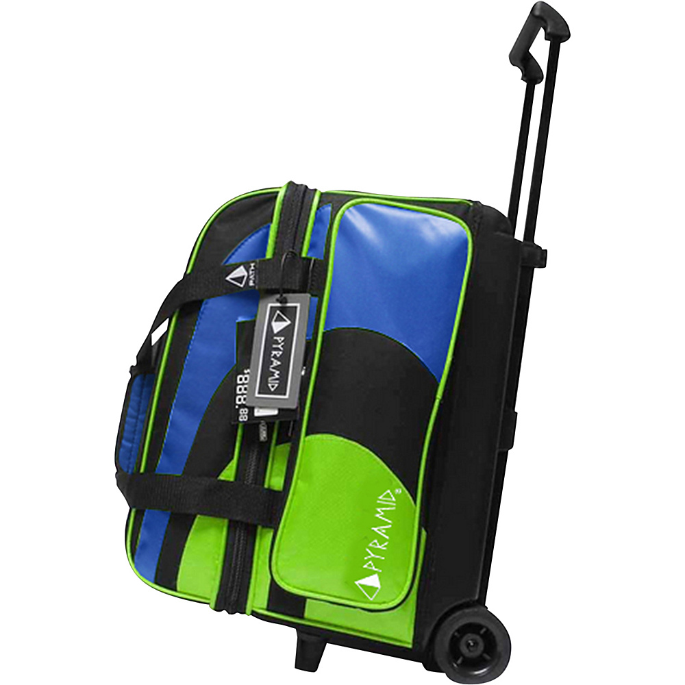 Pyramid Path Double Roller Bowling Bag Lime Green Royal Blue Pyramid Bowling Bags