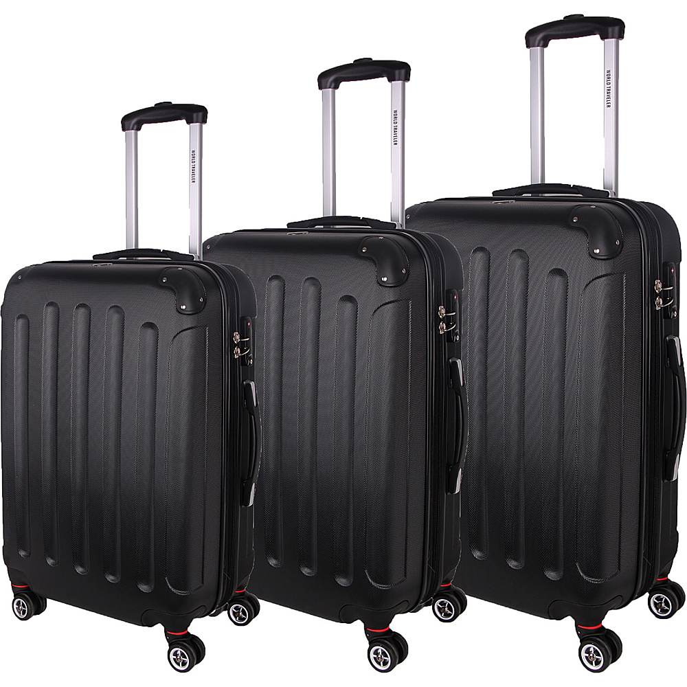 World Traveler Milan 3-Piece Hardside Spinner Luggage Set Black - World Traveler Luggage Sets - Luggage, Luggage Sets