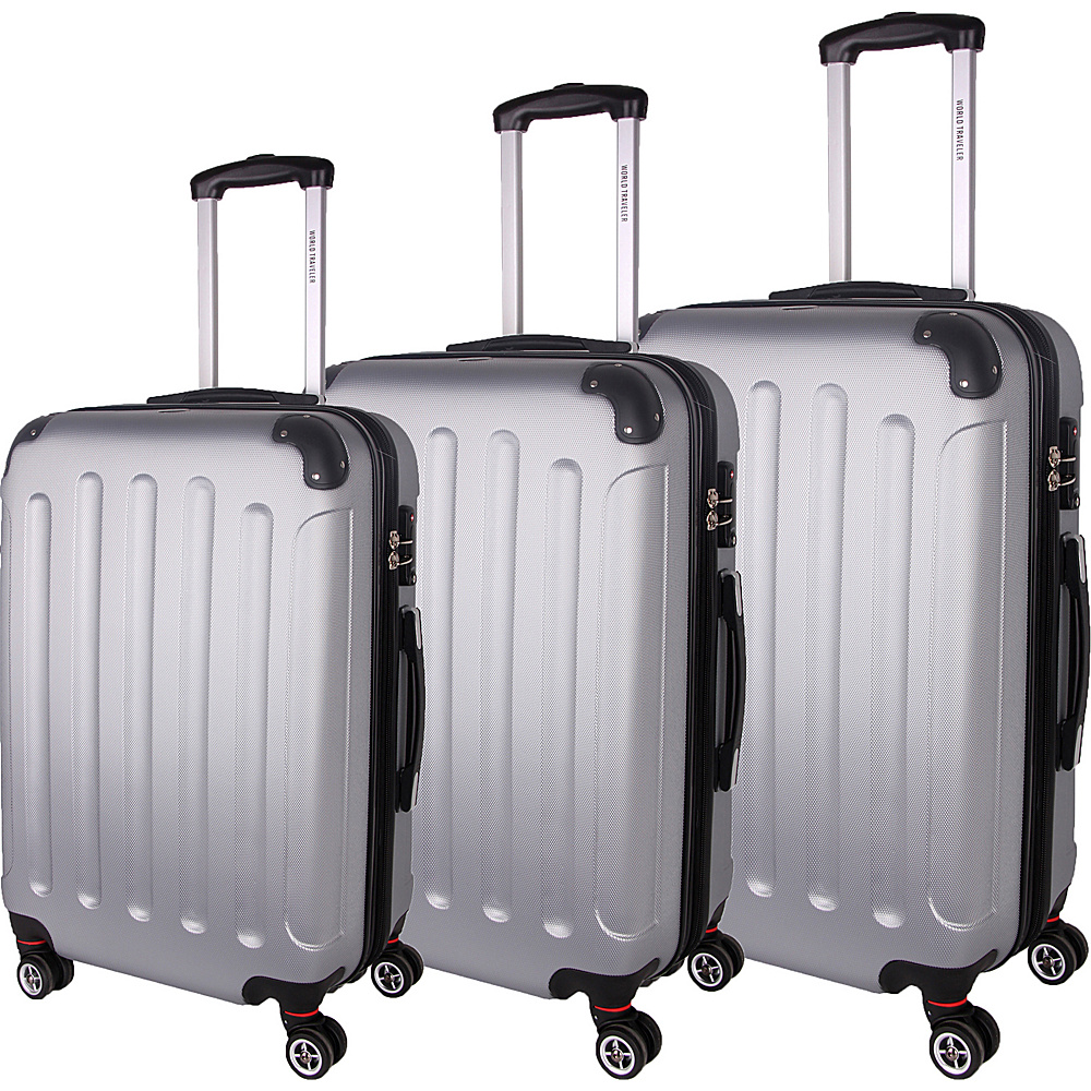 World Traveler Milan 3-Piece Hardside Spinner Luggage Set Silver - World Traveler Luggage Sets - Luggage, Luggage Sets
