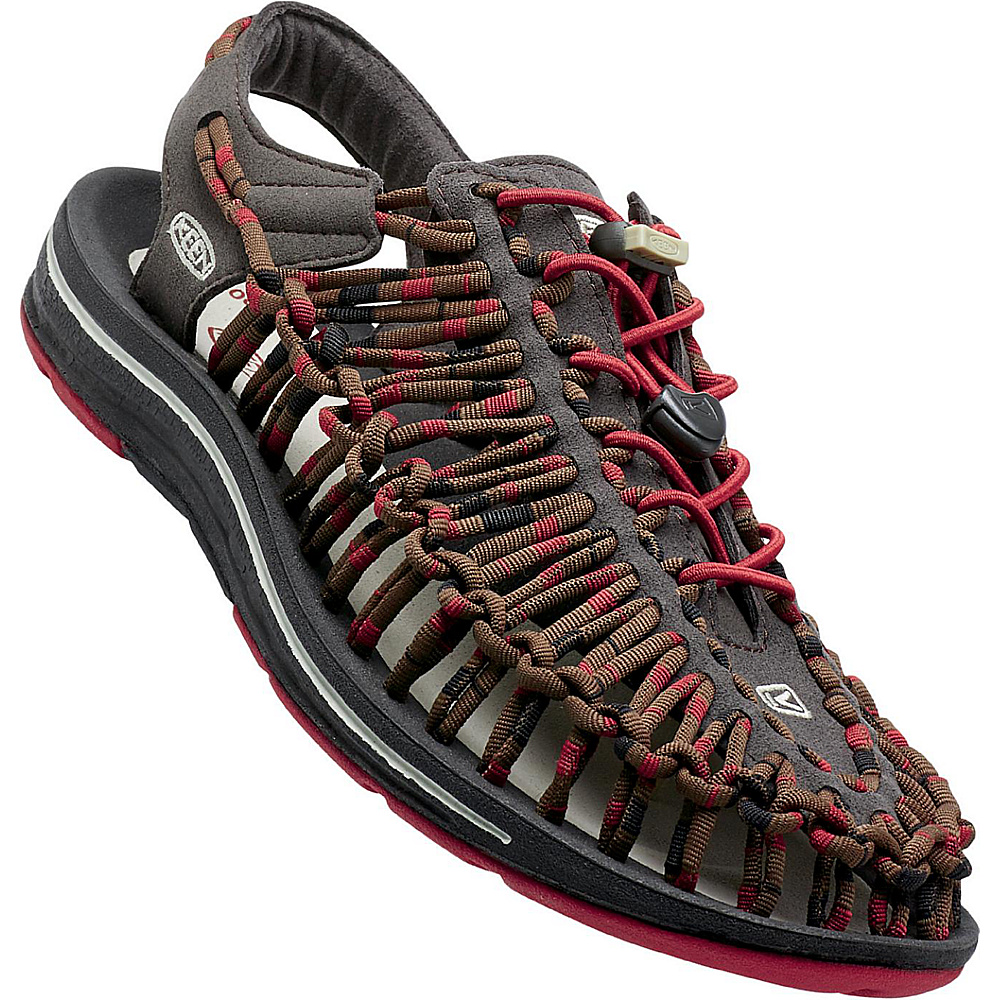 KEEN Mens UNEEK Round Cord Sandal 9 - Red Dahlia/Raya - KEEN Mens Footwear - Apparel & Footwear, Men's Footwear