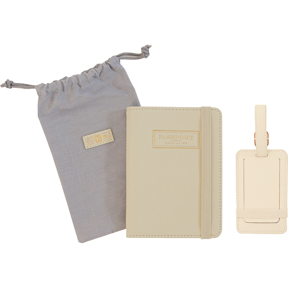 Flight 001 Correspondent Passport Holder and Luggage Tag Set Ivory Flight 001 Luggage Accessories