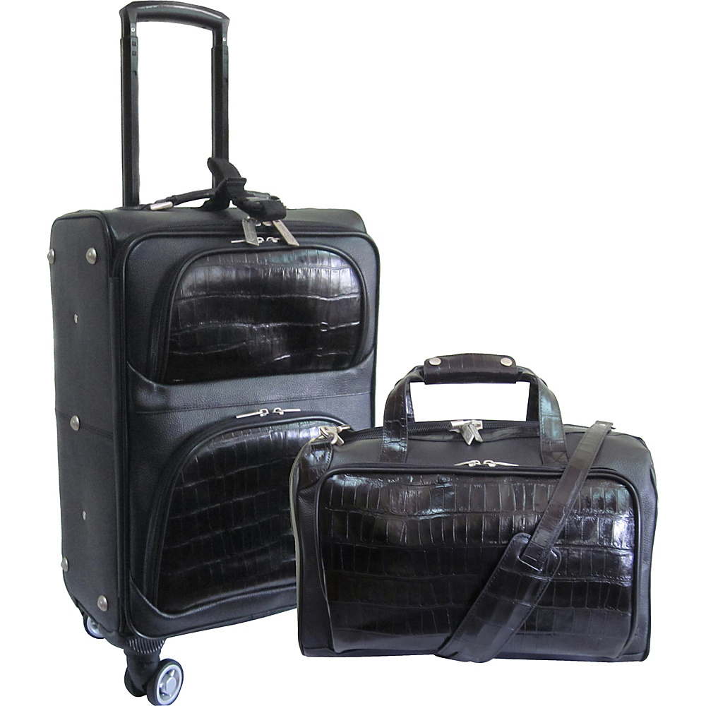 AmeriLeather 2 Piece Spinner Traveler Set Black Two-Tone - AmeriLeather Luggage Sets - Luggage, Luggage Sets