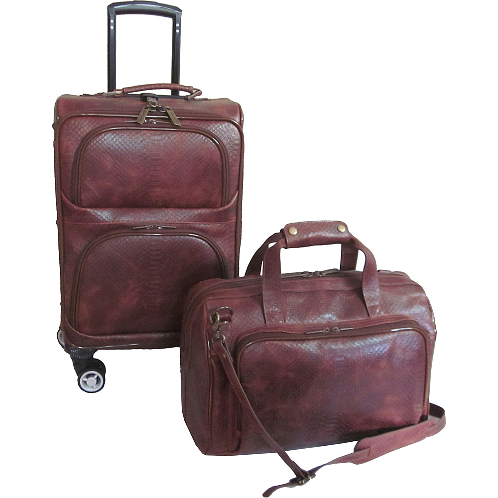 AmeriLeather 2 Piece Spinner Traveler Set Brown Python - AmeriLeather Luggage Sets - Luggage, Luggage Sets